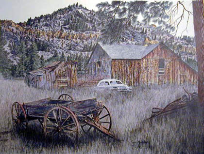 Old Homestead and Wagon